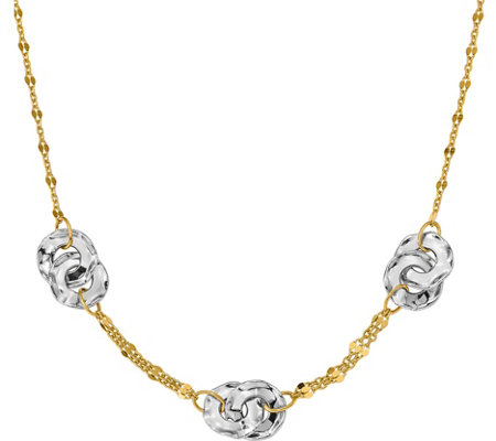 "14K Two-tone Beaded & Disc 18"" Necklace, 5.5g"