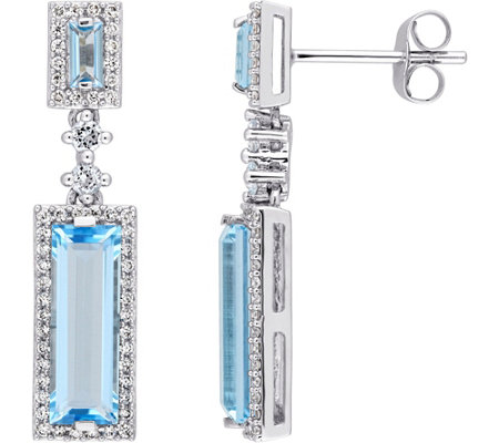 4.20 cttw Blue Topaz & 3/10 cttw Diamond Drop Earrings, 14K