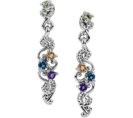 Carolyn Pollack Sterling Multi Gemstone Drop Earrings