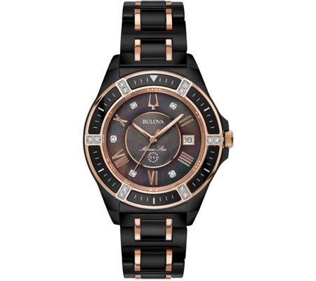 Bulova Women s Black Ceramic Marine Star Diamond Watch — QVC ... b3216f79ab