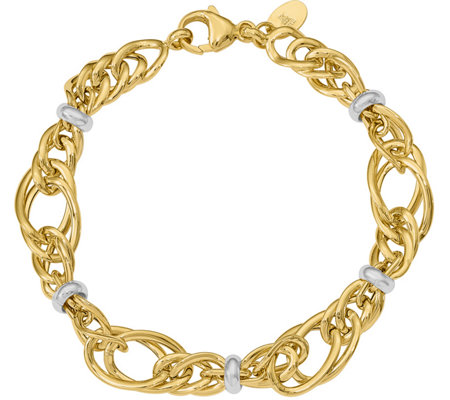 14K Gold Two-tone Multi-size Link Bracelet, 6.4g