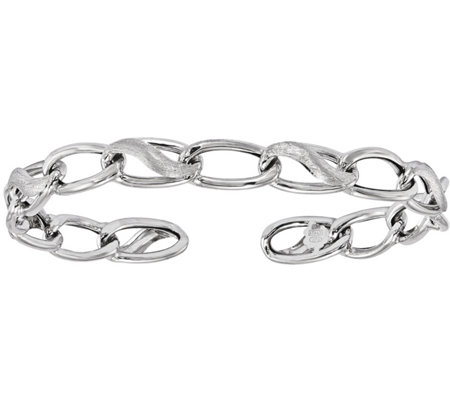 Italian Silver Polished and Brushed Cuff BangleSterling, 6.6g