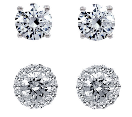 Diamonique 3.90 cttw Halo & Stud Earrings Set,Platinum Plated