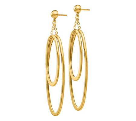 Italian Gold Double Oval Dangle Earrings, 14K