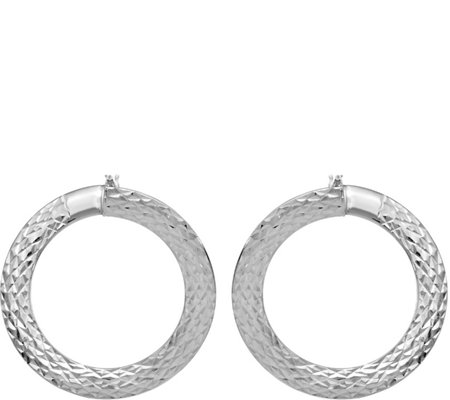 "Italian Gold 1"" Diamond-Cut Hoop Earrings 14K,2.2g"