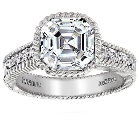 Judith Ripka Sterling 3.30 cttw Asscher-Cut Ring