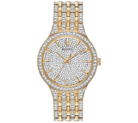 Bulova Men's Phantom Goldtone Crystal BraceletWatch