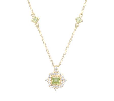 Judith Ripka 14k Gold Clad Diamonique Peridotnecklace