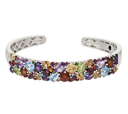 """As Is"" Master Cut 12.00 ct tw Multi-Gemstone Sterling Hinged Cuff"