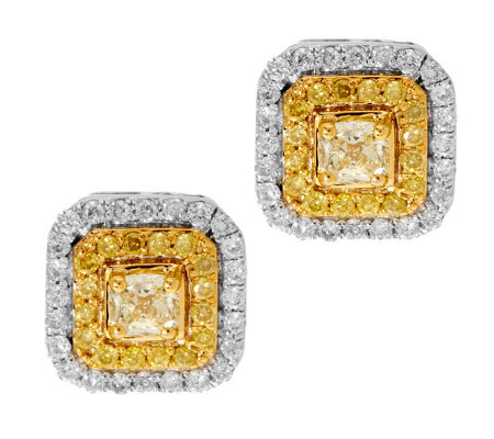 Natural Yellow Diamond Halo Stud Earrings 14k 1 2cttw By Affinity