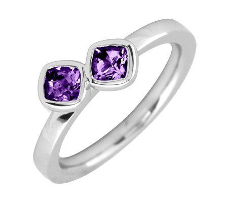 Simply Stacks Sterling & Amethyst Double-SquareGemstone Ring