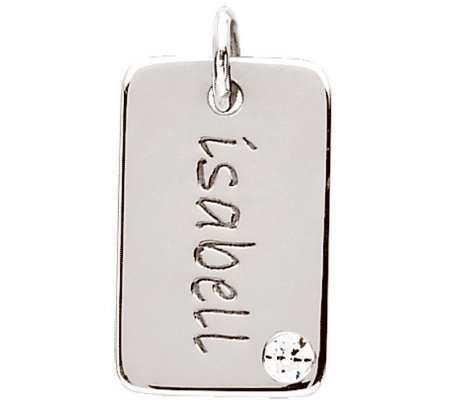 Posh Mommy Sterling Mini Dog Tag Simulated Birthstone Pendant