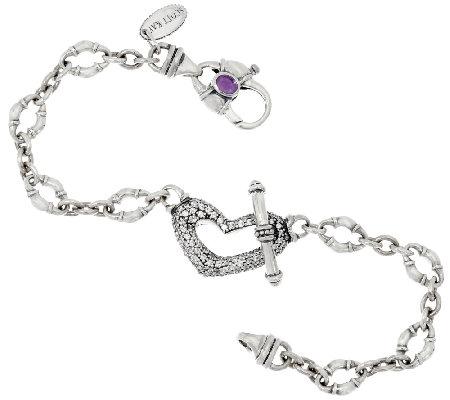Scott Kay 1 00 Cttw Diamonique Pave Heart Bolo Link Bracelet
