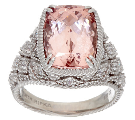 Judith Ripka Sterling 5.00 ct Morganite Estate Ring