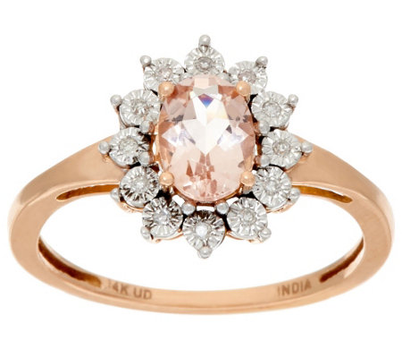 """As Is"" Oval Morganite & Diamond Accent Ring, 14K Gold, 0.65 cttw"