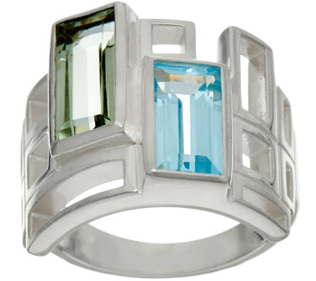 Solvar Sterling Silver and Multi- Gemstone Geometric Ring