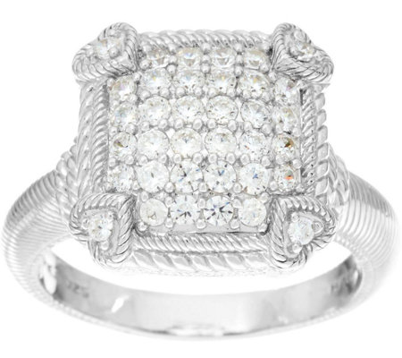 Judith Ripka Sterling or 14K Clad Olivia Diamonique Pave Ring