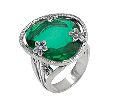 Or Paz Sterling Simulated Emerald Ring