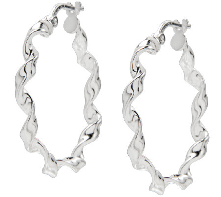 Ultrafine Silver 1 Round Twisted Hoop Earrings