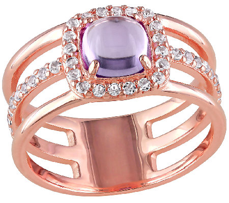 Amethyst White Topaz Triple Row Ring Sterling 14k Plated