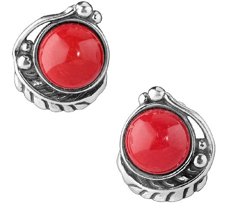 American West Sterling Red Coral Leaf Button Earrings