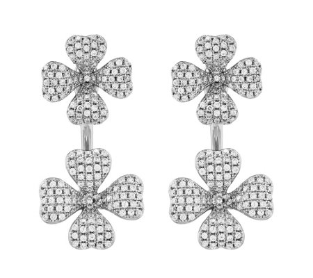 Sterling Four-Leaf Clover Two-Part Earrings