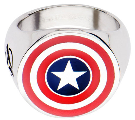Marvel Stainless Steel Captain America Logo Ring