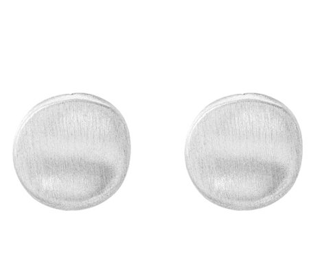 Sterling Brushed Curved Button Omega Back Earrings