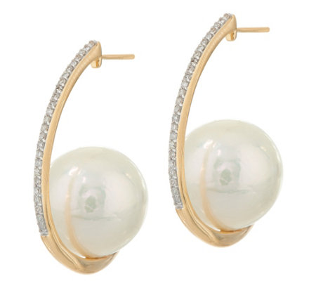 Honora Ming Cultured Pearl & Diamond Hoop Earrings, 14K