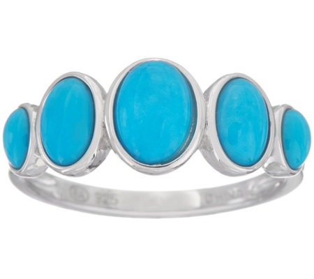 5-stone Oval Sleeping Beauty Turquoise Sterling Band Ring