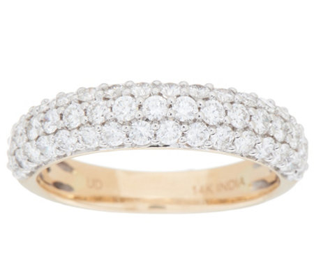 Three Row Pave Diamond Band Ring, 1.00 cttw, 14K, by Affinity