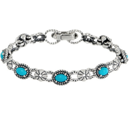 American West Sleeping Beauty Turquoise Sterling Silver Tennis Bracelet