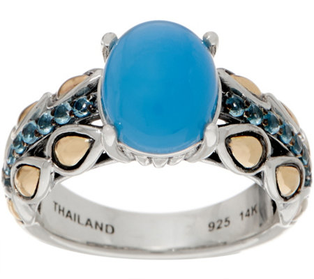 JAI Sterling Silver & 14K Gold Blue Agate Lotus Petal Band Ring