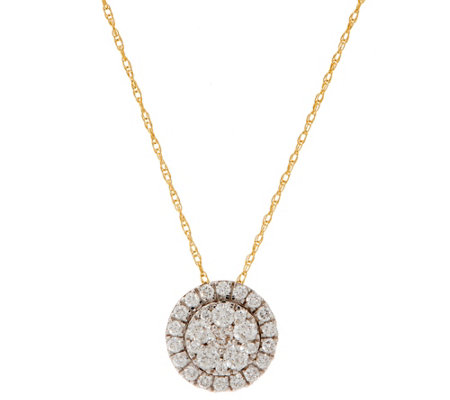 Diamond Cluster Round Pendant w/ Chain, 5/8 cttw, 14K, by Affinity