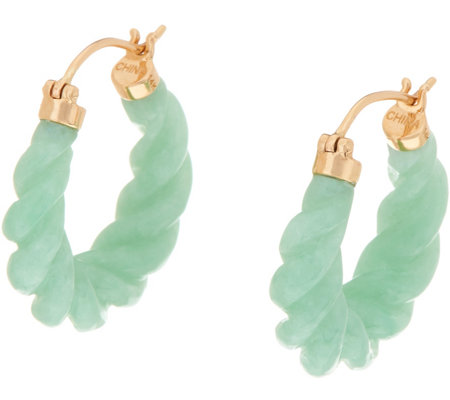 """As Is"" Carved Burmese Jade Hoop Earrings 14K Gold"