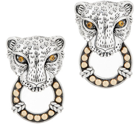 JAI Sterling Silver & 14K Gold Leo Door Knocker Earrings