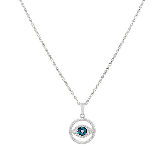 Affinity Diamond Evil Eye Pendant w/ Chain, Sterling