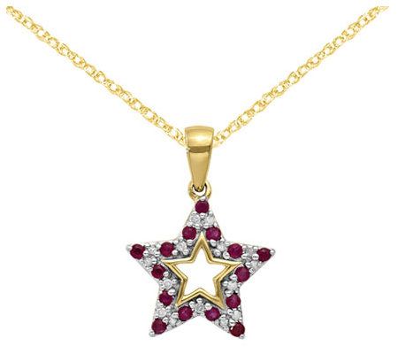 "14K Ruby & Diamond Star Pendant with 18"" C hain"