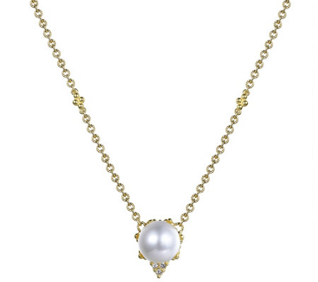 Judith Ripka 14K Gold Pearl & Diamond Accent Necklace