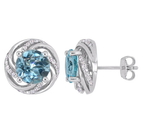 Sterling Silver 5.00 cttw Blue & White Topaz Stud Earrings