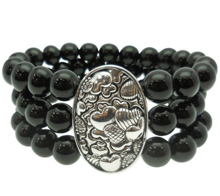 Elyse Ryan Sterling Black Onyx Bead Bracelet