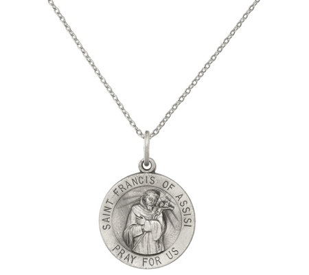 Francis of Assisi Medal Pendant With a 18/'/' Chain Necklace Sterling Silver St