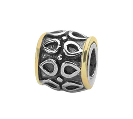 Prerogatives Sterling And 14k Gold Barrel Bead