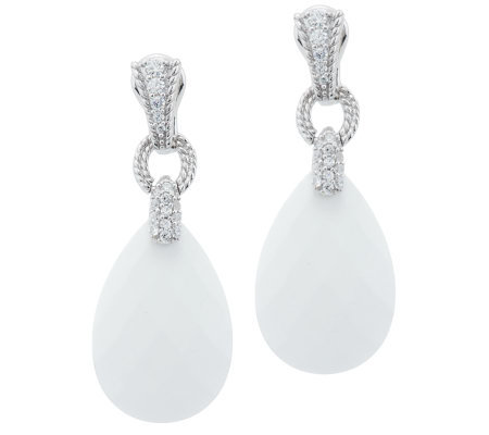 Judith Ripka Sterling White Agate And Diamonique Drop Earrings