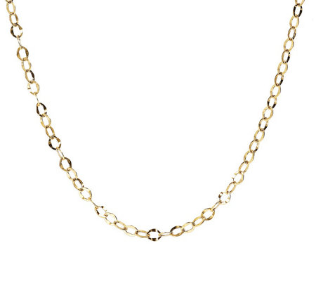 "16"" Hammered Oval Link Chain, 14K Gold 1.4g"