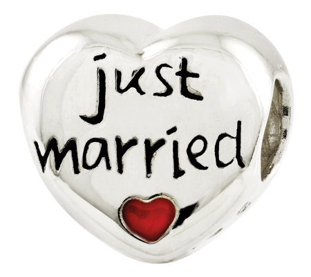 "Prerogatives Sterling ""Just Married"" Heart Bead"