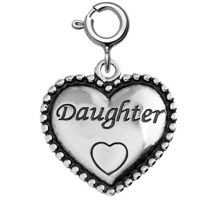 "Sterling Beaded ""Daughter"" Heart Charm"