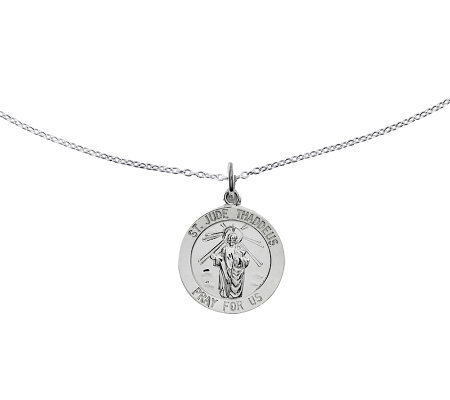 "Sterling Saint Jude Thaddeus Round Solid Pendant w/ 18"" Chain"