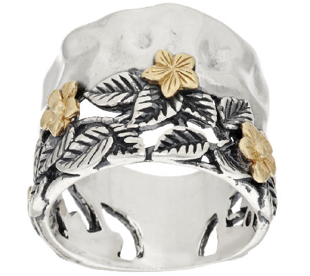 Sterling Silver & 14K Gold Leaf & Flower Band Ring by Or Paz