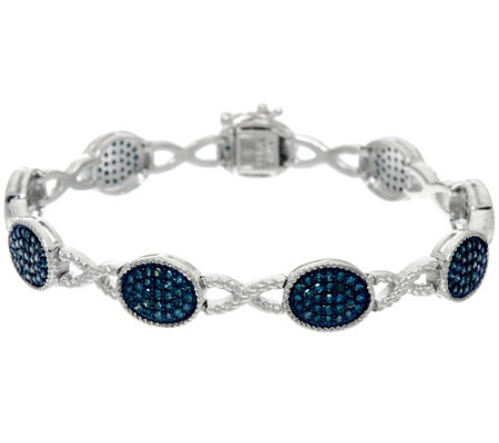 "Blue Diamond 6-3/4"" Station Bracelet, Sterling, 1.25 cttw, Affinity"